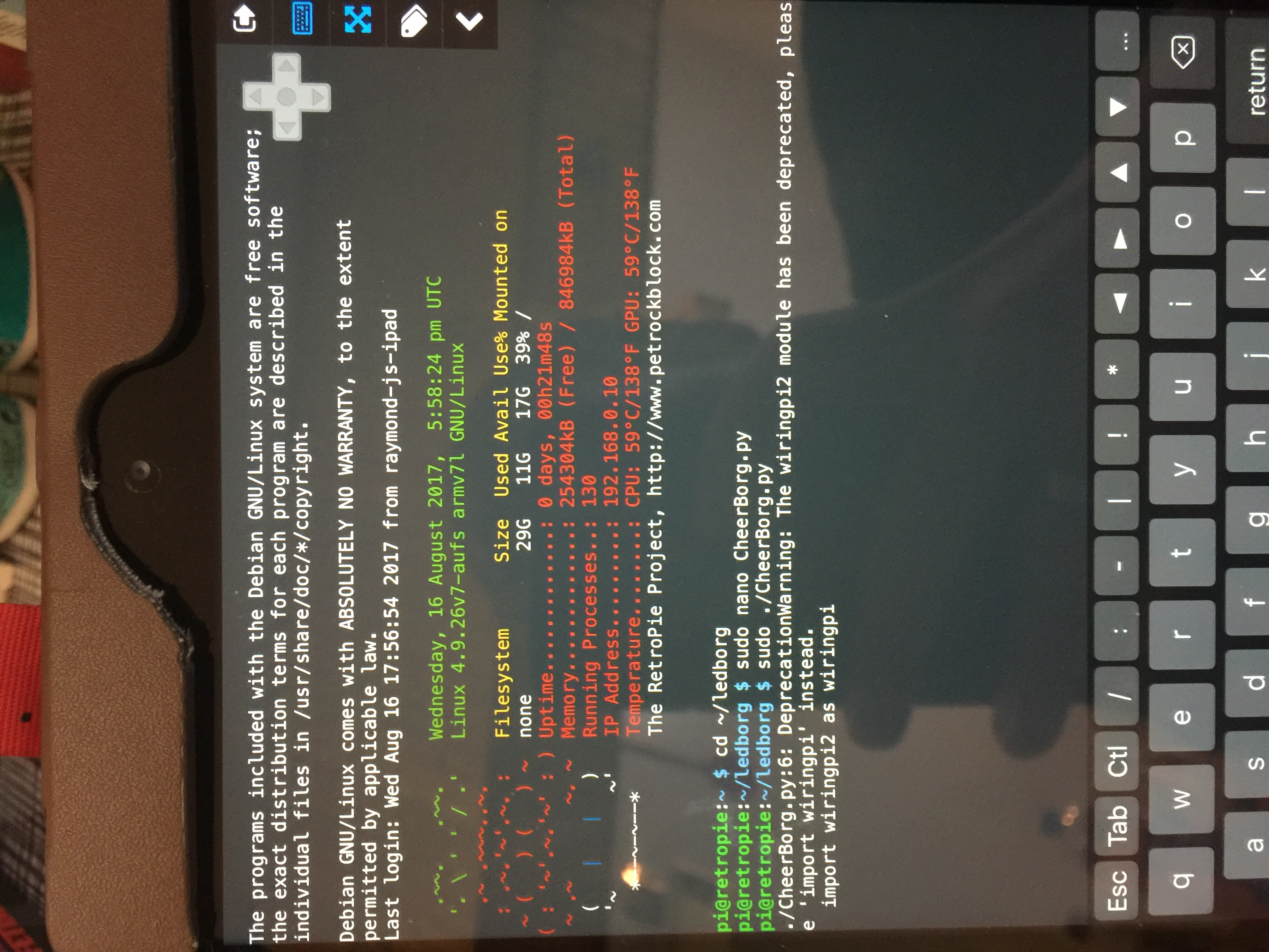 Error Message When Ssh To Pi Piborg Using Wiringpi In C